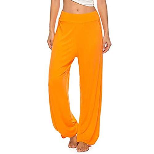TiaoBug Herren Lange Hose Pants Haremshose Pumphose Yogahose Stretch Tanzhose mit Dehnbund Lässig Freizeithose mit Bündchen in Schwarz Weiß Orange Schlitz L