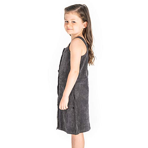 Cherry Crumble California Kids Pinafore Dress Straps/Square Neck Sleeveless Solid Dress for Girls , Green Yellow Multicolor Blue White Red Black Orange Casual Dress Colorblock Solid Embroidered Emblished Applique Printed Striped Plain A-Line Fit and Flare Party Dress (Girls, Grey, 3-4 Years)