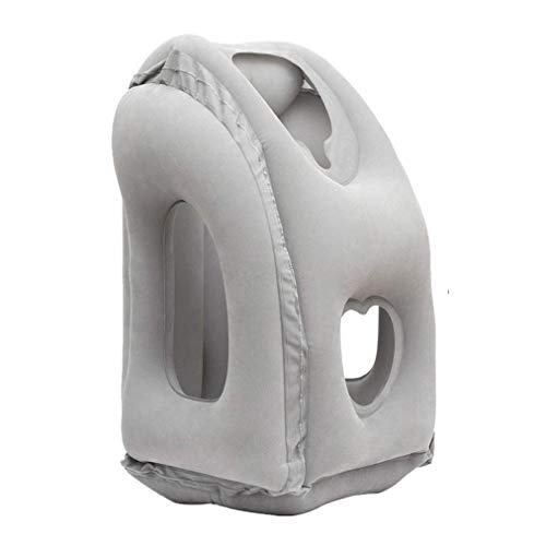 AirGoods Inflatable Travel Pillow 3rd Generation Neck and Head Support Pillow for Sleeping on The Airplane Train Car Home Office (Grey)