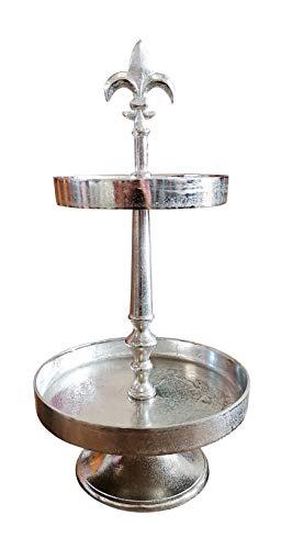 MichaelNoll Etagere Lilie 2-Stöckig Dekoteller Schale - Servierplatte Groß aus Metall Aluminium - Silber Luxus 57 cm