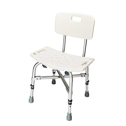 OMECAL 450LBS Heavy Duty Shower Bath Chair with Backrest,Upgraded Aluminum Alloy FDA Approved Non-Slip Adjustable Height, Medical Safety Seat Stool Benches