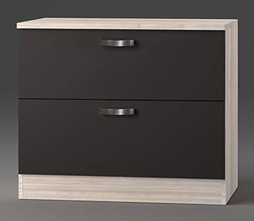idealShopping GmbH Schubladenunterschrank mit Arbeitsplatte Faro U126-9 in anthrazit