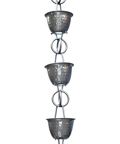 Monarch Aluminum Hammered Cup Rain Chain, 8-1/2 Feet Length (Pewter Bronze)
