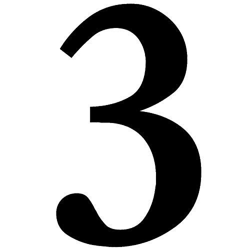 Zahlen-Aufkleber Nr. 3 in schwarz I Höhe 10 cm I selbstklebende Haus-Nummer, Ziffer zum Aufkleben für Außen, Briefkasten, Tür I wetterfest I kfz_471_3