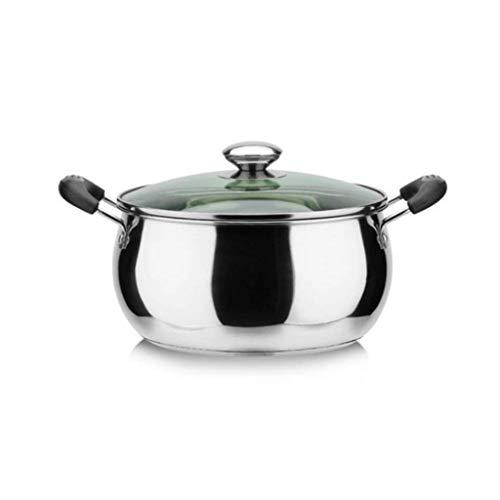 Stockpots 20cm Stock Pot, 304 roestvrij staal Stock Pot, Mirror Polijsten, Non-Stick Pot, geschikt for inductie kookplaat, 4 Grootte (Kleur: Zilver, Maat: 26cm * 14cm) HAOSHUAI