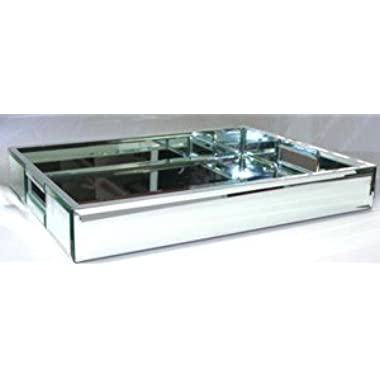 Mirror Glass Rectangle Serving Tray w Handles