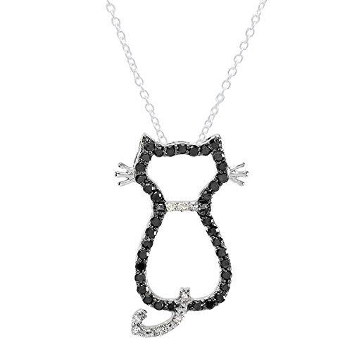 0,33quilates (de quilate) Ronda de plata de ley blanco y negro de diamante gato colgante 1/3CT