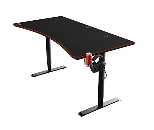 Trust XXL Gaming Tish (160 x 82 cm) GXT 1190 Magnicus - Computer Tisch in Desk-Größe, Integriertes Kabelloses Ladegerät, Kabelmanagementsystem, PC Schreibtisch - Schwarz