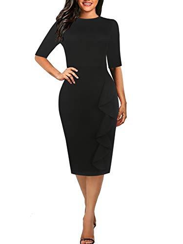 CISMARK Casual Pure Black Half Sleeve Round Neck Work Business Pencil Dress Black M