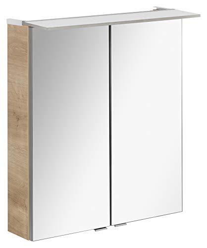 FACKELMANN LED Spiegelschrank B.PERFEKT/Badschrank mit Soft-Close-System/Maße (B x H x T): ca. 60 x 69 x 15 cm/hochwertiger Schrank mit Spiegel und Beleuchtung fürs Bad/Korpus: Braun