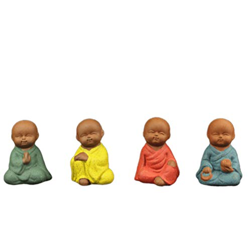 HEALLILY 4pcs Little Monk Baby Buddha Statue Figurine Miniatures Car Dashboard Decorations Fairy Garden Ornaments (Mixed Style)