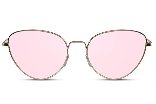 Cheapass Gafas de Sol Ojo de Gato Gafas Redondas Metálicas Doradas Lentes Rosas Espejadas UV400 Mujeres