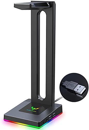 Blade Hawks RGB con AUX de 3,5 mm y 2 Cargador USB Soporte para Auriculares de Escritorio, válido para Auriculares Sony, Audio-Technica, Bose, Beats, Solo se puede usar en la PC