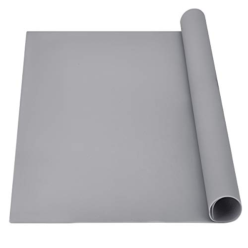 Extra Large Silicone Mat, Newpow Food Grade Silicone Pad - Odorless, 25 X 22 X 3/64 in, for Craft Jewelry Casting Resin Painting, Placemats Pet Mats Pastry Mats Countertop Protector - Rhino Gray