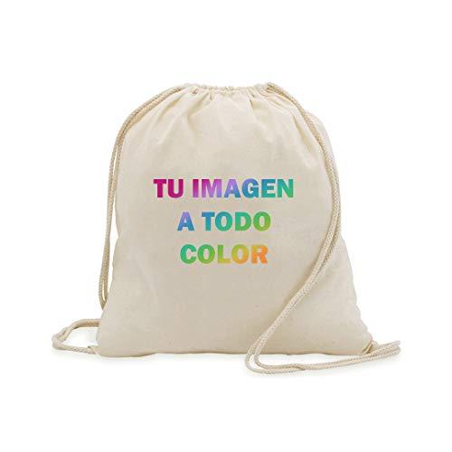 Promo Shop Bolsa/Mochila de Cuerdas 100% algodón. Personaliza con tu fotografía o Imagen Favorita.