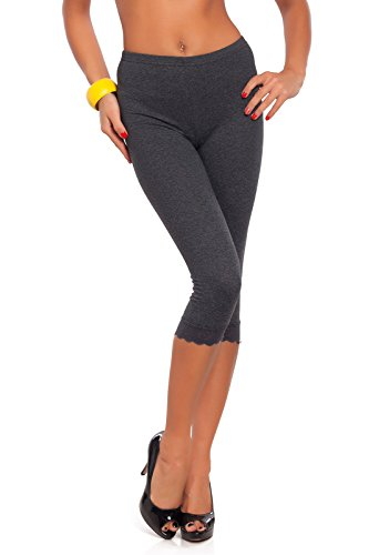 FUTURO FASHION Cropped 3/4 Lenght Cotton Leggings with Lace All Colours & All Sizes Graphite