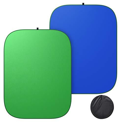 BANNIO Toile de Fond Pliable Chromakey Vert et Bleu,Portable Backdrop,Double Face Pop Up Fond Vert et Bleu pour Video,Photographie de Portrait et Télévision Diamètre 5'x7'/150x200cm,Vert et Bleu