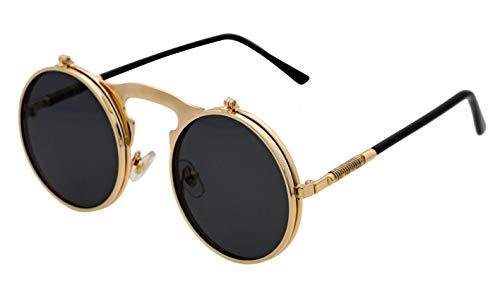 J&L Glasses Retro Klassisches Sonnenbrillen Brille mit Fensterglas Damen Herren Brillenfassung UV-Schutz, Sonnenbrillen Unisex Modische Fahrer, Autofahren, Outdoor, Steampunk filp-up (Golden)