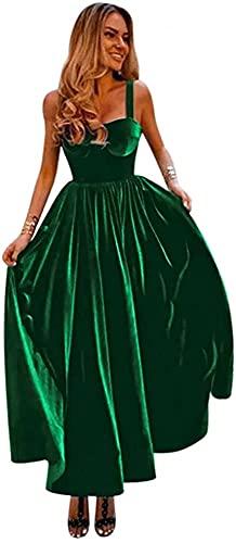 Rjer Spaghetti Strap Homecoming Dresses Velvet Sweetheart Bridesmaid Dress Tea Length Prom Evening Gowns,Dark Green US2