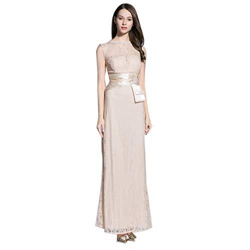 Sijux Frauen Spitze hohl Abend Party Maxi Kleider Abendkleid v-Ausschnitt herzförmiger Ausschnitt Korsett langes Kleid,Nude,8