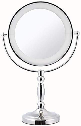 LULUTING Espejo de Maquillaje Europea del Metal del Espejo del LED de Escritorio de Doble Cara Espejo de Alta definición de Belleza Vanidad Espejo de Aumento de 360 ° de Giro Libre Espejo