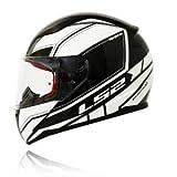 LS2 Helmet Infinity Black White with Anti Fog Visor Full Face Helmet (XL)