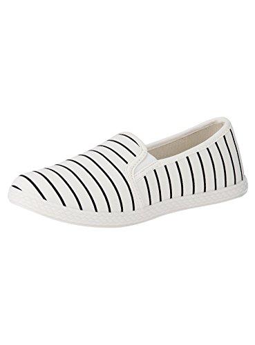 oodji Ultra Mujer Zapatillas Slip On de Tela Estampadas, Blanco, 41 EU / 7 UK