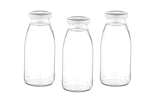 slkfactory 15 or 24 x 250 ml empty glass bottle mil milk bottle small juice bottle with screw cap 0.25 litres l (15 pieces)