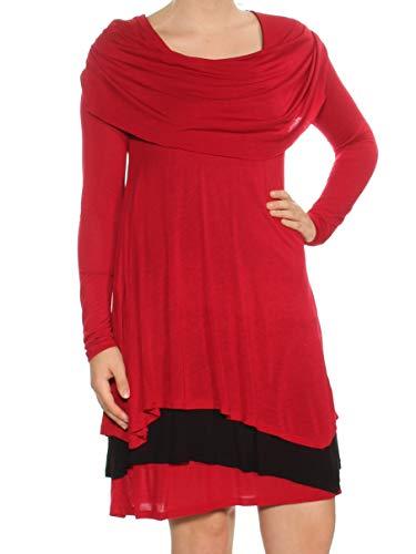 kensie Women's Sheer Viscose Layered Dress, red, XL