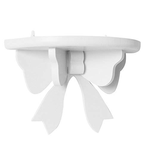YMZ Schwebendes Regal, halbrund, schwebend, Heimdekoration, Kinderzimmer, Blumentopfhalter, Ausstellung, Holzregal, Wandregal, Hochzeitsdekoration (weiß)