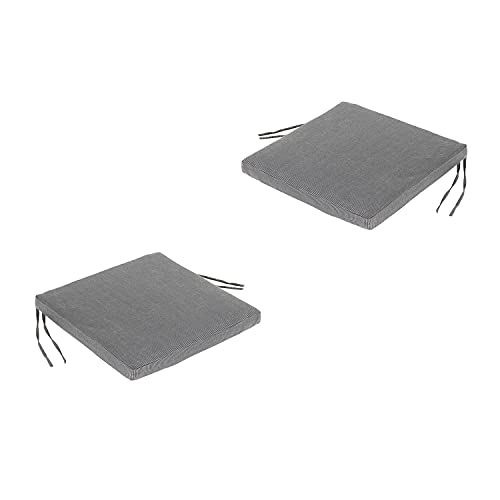Edenjardi Lot de 2 Coussins de siège Lux pour extérieur Couleur Anthracite | Dimensions: 44x44x5 cm | Imperméable | Déhoussable | Livraison Gratuite