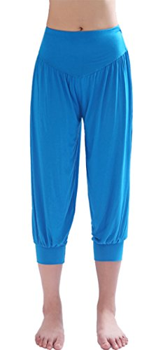 HOEREV Super Soft Modal Spandex Harem Yoga Pilates Pantalons Capri des femmes, Bleu, 3XL