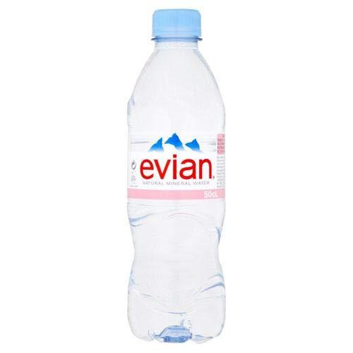 Evian Natural Spring Mineral Mineralwasser - Set mit 24 Flaschen - 50 cl / 50 ml pro Flasche - recycelbarer Behälter - Natürlich feuchtigkeitsspendend und erfrischend - Kein zusätzlicher Geschmack