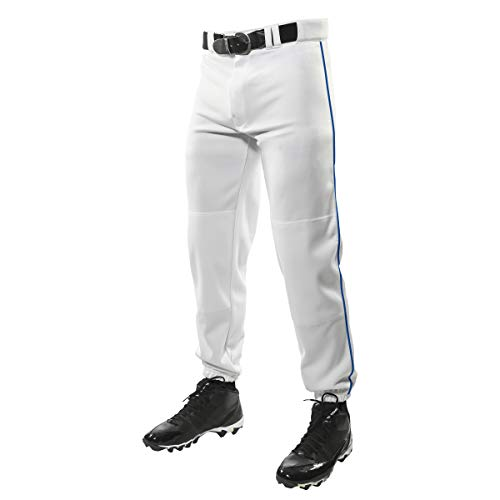 CHAMPRO Traditional Fit Triple Crown Classic Baseball Pants with Contrast-Color Braid Piping and Reinforced Sliding Areas, White, Royal Pipe, Medium