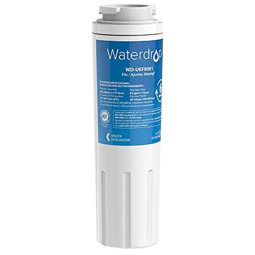 Waterdrop UKF8001 Refrigerator Water Filter, Compatible with EveryDrop Filter 4, EDR4RXD1, UKF8001AXX-750, UKF8001AXX-200, Wrx735sdbm00, Whirlpool 4396395, 469006, PUR, Puriclean II, 1PACK