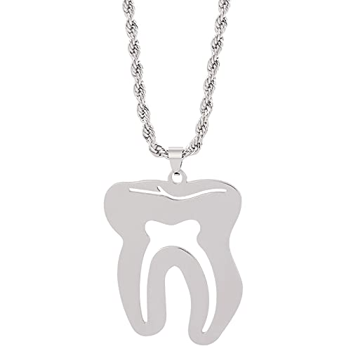 Collar Con Colgante De Dentista De Dientes Grandes, Collar Médico De Dientes Punk De Acero Inoxidable, Hombres Y Mujeres, Regalos De Joyería Para Médicos