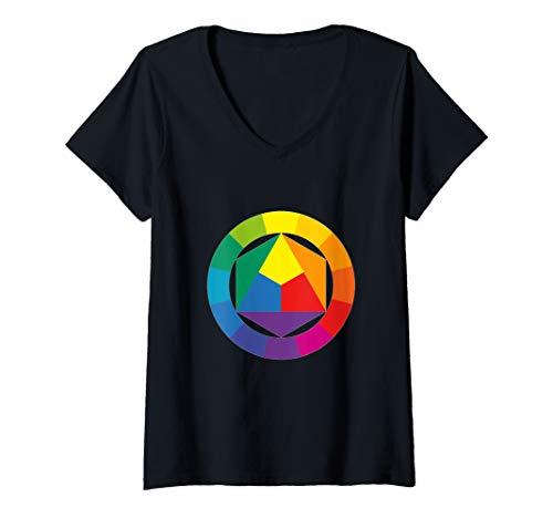 Damen Farbrad Palette Hemd Künstler Maler Kunstlehrer T-Shirt T-Shirt mit V-Ausschnitt