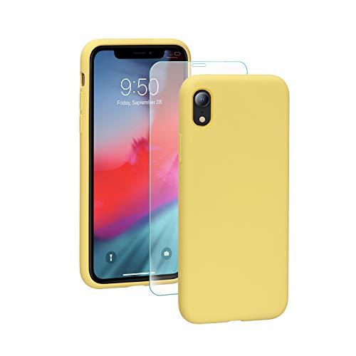 SmartDevil Funda para iPhone XR + Vidrio Templado, [Totalmente Protector] Funda de Goma de Gel de Silicona.Líquida a Prueba de Golpes Funda de Microfibra Suave Forro Cojín para iPhone XR-Amarillo
