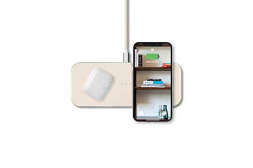 Courant Catch:2 QI Certified Wireless Charger Station for Multiple Devices, Compatible to Dock with Apple iPhone 12/11 Pro/11 Pro Max/11/Xs/XS Max/XR/X/Apple AirPods/Android (Bone)