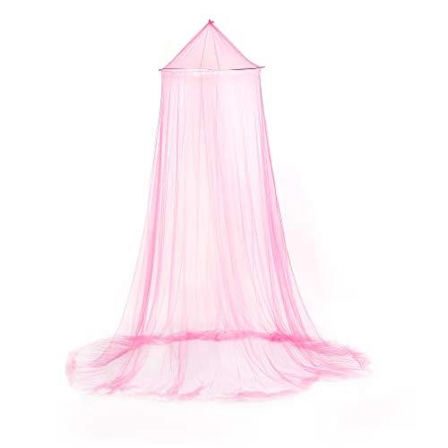 Verano al Aire Libre Redondo Encaje Insectos Cama Dosel Malla Cortina Tela de Malla de poliéster Textiles para el hogar Elegante Cúpula Colgante Mosquitera (Rosa)
