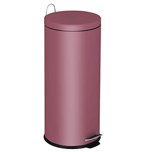 KITCHEN MOVE 905567E Red AS - Cubo de Basura de Cocina con Pedal básico (30 L, Acero Inoxidable, 29 cm), Color Rojo Burdeos