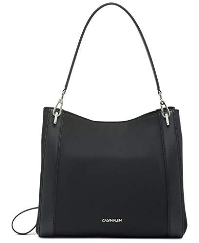 Calvin Klein Ellie Novelty Triple Compartment Shoulder Bag, Black/Silver