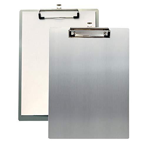 2x TUKA A4 Portapapeles de Aluminio con Pinza, Abrazadera de metal Recubierto de Goma, Tablilla con Sujetapapeles, Gran Resistencia, Aluminio de Alta Calidad. Juego de 2, Color Gris TKD8025-grey-2x