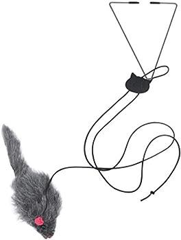 FEDBNET Jouet pour Chat, Porte Suspendue pour Chat Exercice Triangle Crochet Réglable Rétractable Corde élastique Balançoire Souris Teaser Fournitures pour Animaux De Compagnie