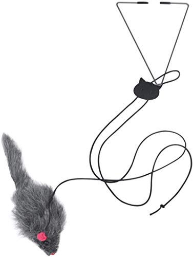 FEDBNET giocattolo per gatti, da appendere alla porta, gancio triangolare regolabile retrattile elastico corda altalena mouse teaser forniture per animali domestici