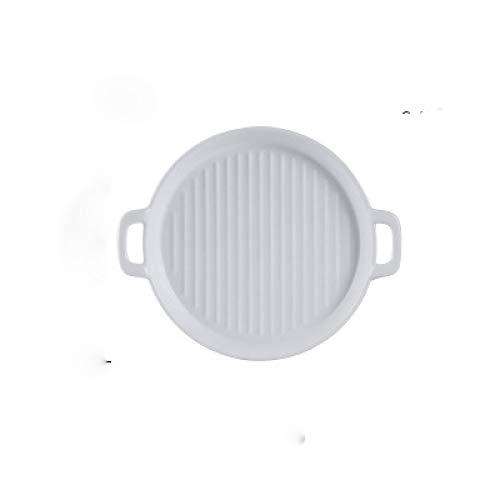 (2 stuks) borden van keramiek, wit en zwart mat geglazuurd