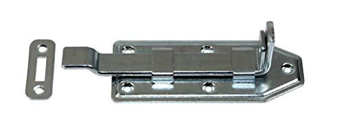 SN-TEC Schubriegel/Schloßriegel/Türriegel, Länge: 140mm, Hub:35mm, gekröpfte Form vorgerichtet für Hangschloss, incl. Schließblech, Stahl verzinkt
