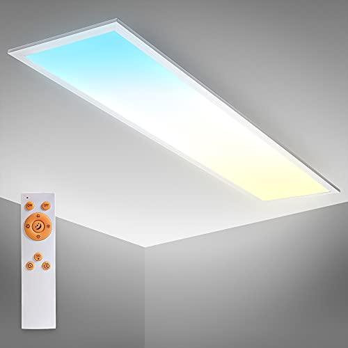 B.K.Licht Pannello LED, lunga 1m, Dimmerabile, Luce calda, neutra, fredda CCT, Telecomando incluso, 24W, 2.200Lm, timer, Luce notturna, 1000x250x63 mm