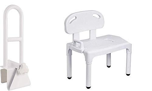 Vaunn Medical Bathtub Safety Rail Grab Bar and Shower Transfer Bench Chair Bundle