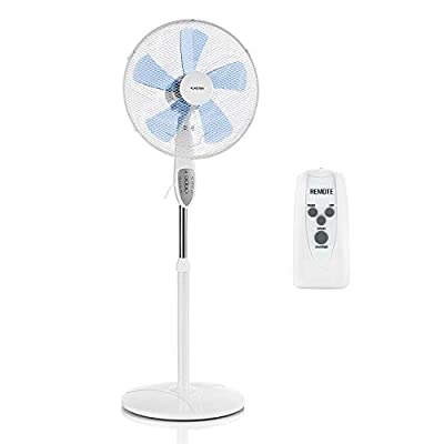 Klarstein Summerjam Stand Fan - 41 cm, 50W, 3 Different Speed Levels, 5 Blades for Higher Airflow, Specially Developed Rotor Blade, Tiltable Fan Head, 4 Timer Settings, Remote Control, White
